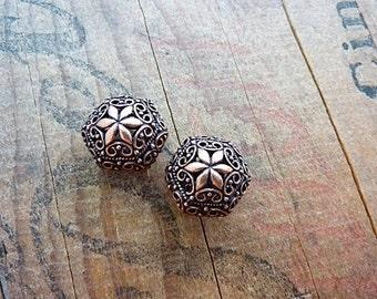 Metal Bead Filigree Bead Ornate Copper Filigree Beads (2) IC419