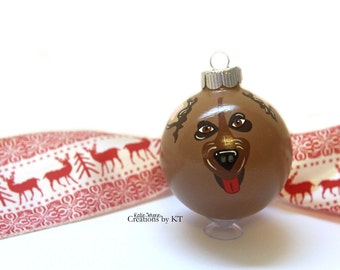 German Shepherd Christmas Ornament READY TO SHIP Glass Bauble Dog Mom Hand Painted Pet Portrait Pet Gift Pet Loss Gift Pet Memorial