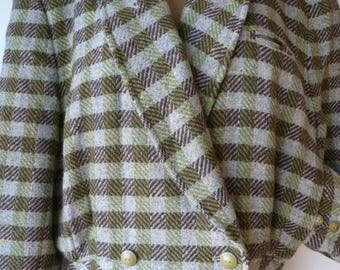 Vintage 1980s Gil Bret Winter Green/Brown Tweed Bomber Jacket. Autumn Tweed Wool Viscose Blouson. Size 12-14 Medium
