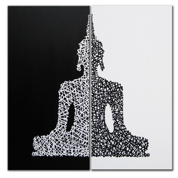 Items similar to buddha siihouette art buddha art black and white buddha painting yin yang matrix buddha 48x48 buddha decor buddha art zen art on