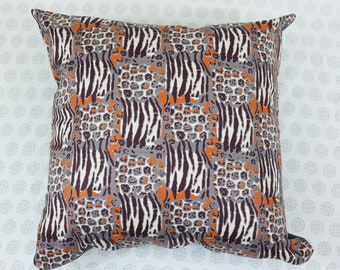 Decorative Pillow Cover, Wild life print, 16x16 inch, handmade.