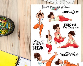 It's Yoga Time! Exercise Workout Planner Stickers | Yoga Stickers | Health & Fitness | Namaste (S-189)