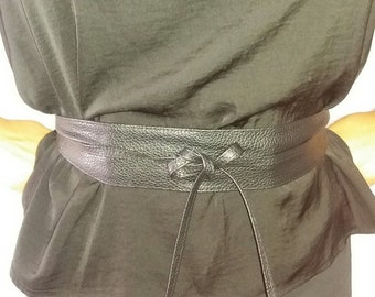 Soft Black imitation leather obi wrap belt