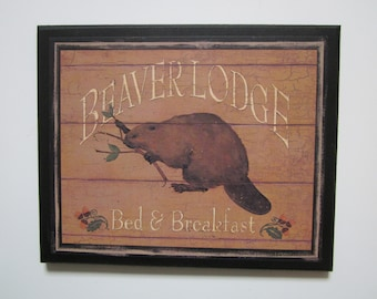 Beaver Lodge Plaque rustic cabin wall decor country style sign