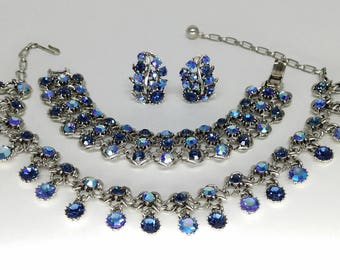 Blue Rhinestone Necklace Bracelet Clip Earring Set, Silver Tone Aurora Borealis Parure, Vintage Costume Jewelry, Valentines Gift, Gifts