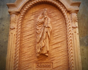 Original Carved Wooden Plaque of Moses