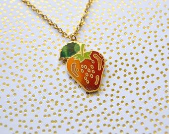 Vintage Strawberry Enamel Necklace - Vintage Strawberry Charm - Enamel Necklace - Cloisonné Necklace - Fruit Jewelry
