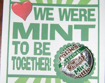 """Instant Download Printable """"We Were Mint to be Together"""" kids Valentine"""