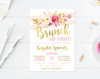Floral Bridal Shower Invitation, Boho Bridal Shower Invitation, Flowers, Gold, Printable, Printable Invites, Bridal Shower Invites [581]
