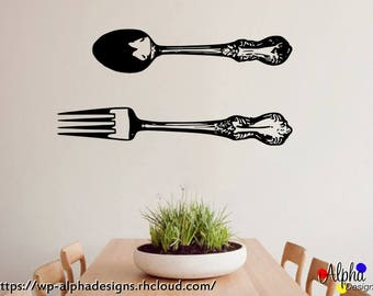 Vinyl Print Decor Kitchen wall decal - Large Fork and Spoon