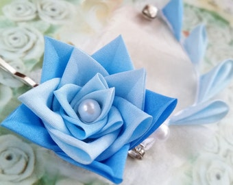 Blue Rose Silk Kanzashi Flower Hair Clip