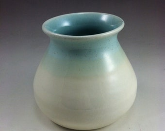 Turquoise and Yellow Wheel Thrown Porcelain Ceramic Vase