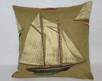 "Sailboat Toile Pillow Cover, Vintage Look, 18"" Square, Blue Green Red Tan, Sailing Yachting Nautical, Ready Ship"