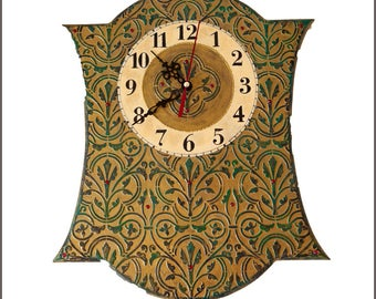 Wall clock Damascus, Wooden clock, Unique wall clock, Handmade clock, Home decor, Eastern original clock