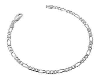 """Sterling Silver Figaro Bracelet 3mm 6.5"""" 7"""" 7.5"""" inches"""