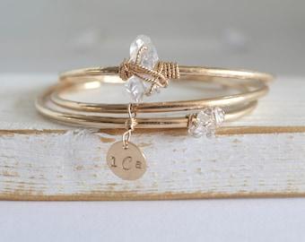 Dainty Herkimer Diamond Cuff Bracelets/Hammered Bracelet Cuff/Herkimer Diamond Cuff Bracelet/ Herkimer Diamond Jewelry/Diamond Cuff Bracelet