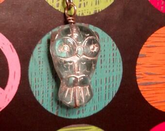 LAST PAIR, Owl Earrings, Beaded Earrings, Pressed Glass Earrings, Owl Jewelry, Owl Beads, Athena, Wiccan, Witch, Wisdom, Wise Owl, Night Owl