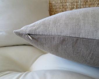 Two Tone Natural Linen Pillow Cover, Natural Linen, Solid Pillow Cover, Euro Sham, Minimalist Pillow, Modern Pillow