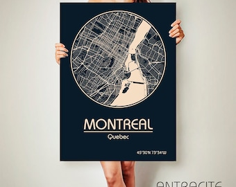 MONTREAL Quebec CANVAS Map Montreal Quebec Poster City Map Montreal Quebec Art Print Montreal Quebec Canada