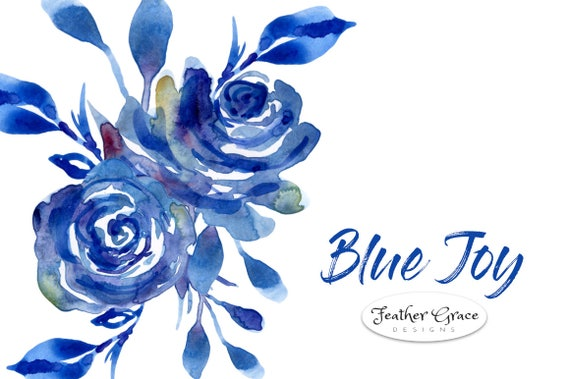 watercolor flowers clipart blue flowers blue roses spring rh etsy com blue flower clips blue flower clipart images