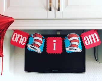 Cat in the hat banner, i am one cat in the hat banner, Dr. Seuss banner, i am one banner, dr. Seuss 1st birthday, cat in the hat party