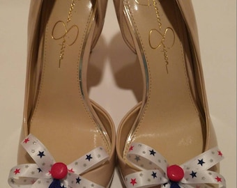 Red, white and blue stars shoe bow shoe accessories with red buttons and royal blue tassels