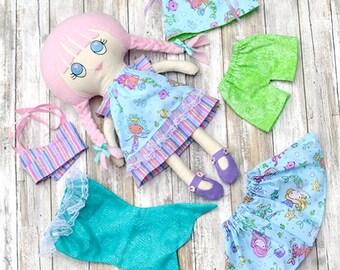 Soft rag doll Dress up doll Fabric doll handmade Cloth doll First doll