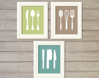 Kitchen Cutlery Print  (Set of 3) - 8x10 - Spoon Fork Knives Cooking Utensils Instant Download Digital Printable Poster Wall Art Home Decor