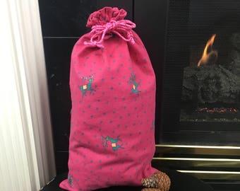 Reindeer Print Christmas Fabric Gift Bag, Drawstring Bag, Pink Flannel, Christmas Gift Idea, Gift For Girls, Zero Waste, Reusable, 10 x 18
