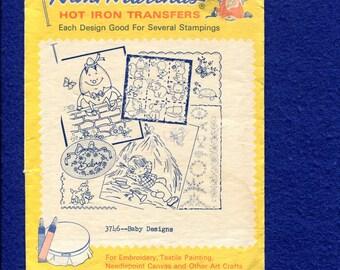 1970's Aunt Martha's 3746 Retro Baby  Motifs Embroidery Transfer