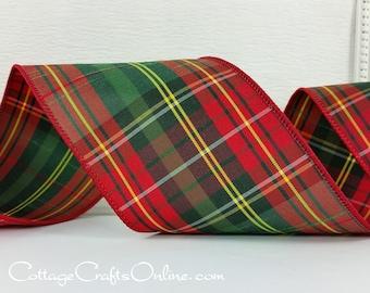 "Christmas Wired Ribbon,  4"" Red, Dark Green, Yellow Tartan Plaid  - TEN YARD ROLL - ""Royal Plaid"" Slubbed Taffeta Wire Edged Ribbon"