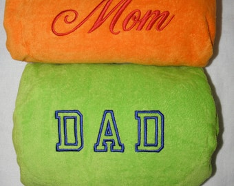 MOM & DAD Beach TOWELS with Canvas Carrying Tote Bag Embroidery 100% cotton terry velour