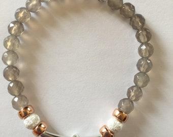 Sterling Silver Rose Gold & Agate Stacking Charm bracelet