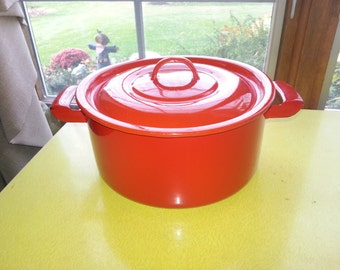 Vintage 1960s Poland Red Enamelware Dutch Oven Cooking Pot