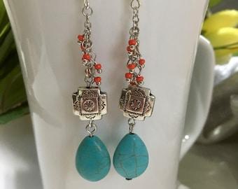 Turquoise look dangle earrings, Southwest earrings, dangle earrings