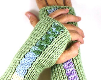 Knit Wrist Warmers Sage Knit Fingerless Gloves Cable Arm Warmers Knit Fingerless Mitterns Knit Accessories Hand Warmers Winter Gloves