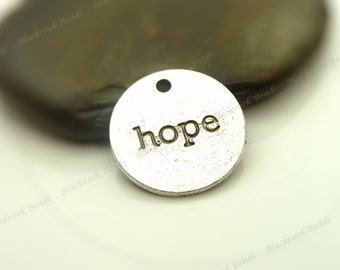 Bulk 24 Hope Message Charms Antique Silver Tone Metal - 18mm - Round, Tag Charms, Word Charms - BM16
