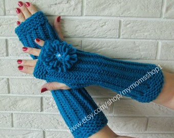Women gloves fingerless blue-green gift for her girlfriend gift spring gloves hand knit accessory Long Arm Warmers Knit mitts
