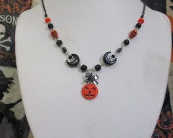 Jack-o-lantern Beaded Charm Necklace Halloween Statement Gothic Choker