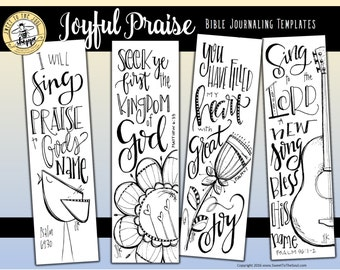 """Soul Inspired - Bible Journaling Template / Color your own bookmarks - """"Joyful Praise"""" - digital download"""