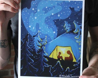 Camping in a Tent at Night; Fine Art Print