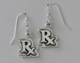 Sterling Silver RX Earrings - Medical, Pharmacist, Drugs
