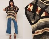 Blanket Poncho MEXICAN Serape Shawl Ethnic Poncho Cape Wool Serape Striped Aztec Boho Cape Vintage Fringe Bohemian Extra Small Xs