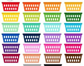 laundry basket clipart. Rainbow Laundry Baskets Clipart Set - Laundry, Rainbow, Baskets, Chores, Washing Basket