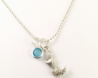 """Mermaid Necklace, personalized silver mermaid charm necklace, Beach Jewelry, gift for girl, 20"""" silver plated ball chain necklace"""