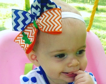 Gators Hair Bow, Chevron Florida, Medium Size, Girls Toddler, Kids Game, Clip Orange Blue, Alligator Boutique, Custom Appliqued, Fan FSU
