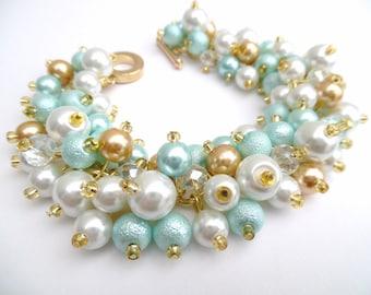 Aqua Mint White Gold Pearl Beaded Bracelet, Bridesmaid Jewelry, Cluster Bracelet, Aqua Wedding Jewelry, Christmas Wedding Jewelry, Ice Mint