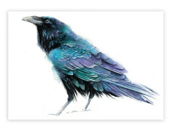 Raven watercolor Print on Wood  Wall Decor Small Gift