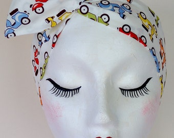Rockabilly Pin Up Vintage Moped Bike Dolly Bow Wire Headband