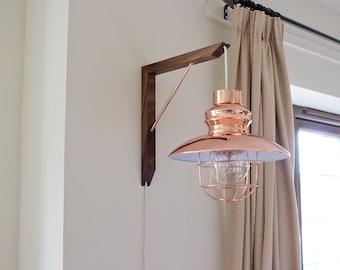 Lighting Bracket - Lighting Fixture - Solid Wood - Metal - Gallows Bracket - Wall Mounted - Wall Light - Hangman Bracket -  L Bracket - Bulb